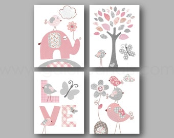 Baby Nursery Decor Gray and Pink Nursery Decor Baby Girl Nursery Art Kids room art Butterfly Tree Elephant Birds  Set of 4 prints