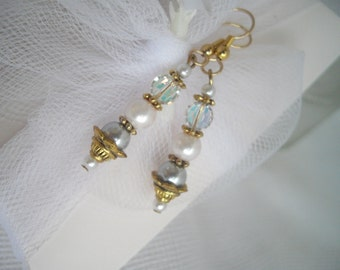 Handmade Dangle Earrings With Vintage Crystals and Pearls For Sensitive Ears Featured At Martha Stewart Wedding Party by handcraftusa