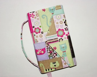 Book Cover Trade Size Large Fabric Paperback Bookcover: Cute Cats Brown Pink Green Purple Flowers Stripes Buttons