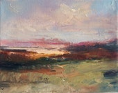 Magenta Sands- Landscape Painting- Textured Oil Painting- 8 x 10 Stretched Canvas- Gallery Wrapped 3/4 inch painted sides