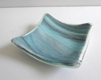 Fused Glass Ring Dish in Streaky Aqua and Gray