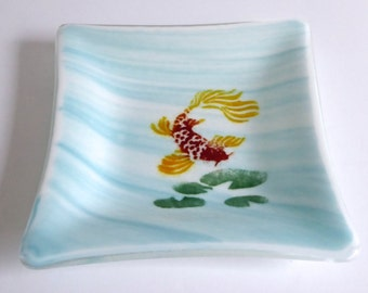 Streaky Aqua Fused Glass Koi Dish