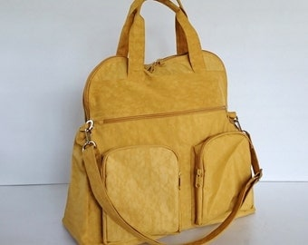 Sale - Water Resistant Nylon Bag in Golden Yellow - Messenger, Laptop bag, Tote, Shoulder bag, Gym bag, Women - AUTUMN