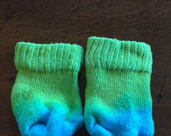 Green Socks with Blue Toes