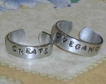 Custom Personalized Hand Stamped Aluminum Band Ring Thin - Personalized Band Ring