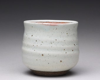 handmade ceramic tea bowl, pottery cup, teacup with crackle white and orange shino glazes