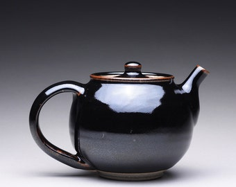 handmade ceramic teapot, tea kettle, stoneware pot with black tenmoku and white glazes