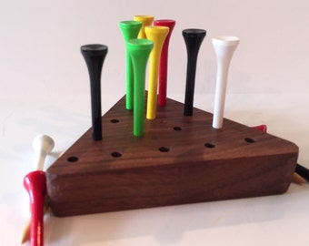 Toy Jump the Peg Brain Teaser - Executive IQ Test in Walnut Wood Toy Jump the Peg Brain Teaser