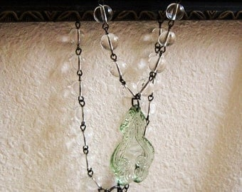 Green Pendant Necklace, Clear Glass, Bottle Green, Clear Beads, Round Glass Beads, Modern Vintage, Handmade