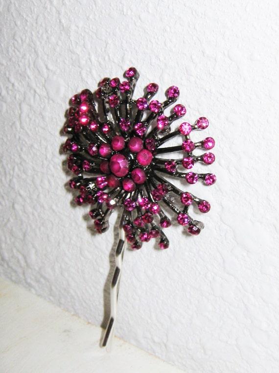 Hair Jewelry, Bobby Pin, Magenta Rhinestone, Deep Pink, Sparkly Hair Jewelry, Fuchsia Pink, Large Rhinestone