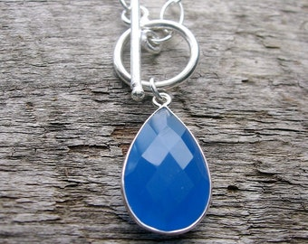 Blue Chalcedony Necklace, Toggle Front Necklace, Chalcedony Pendant Necklace