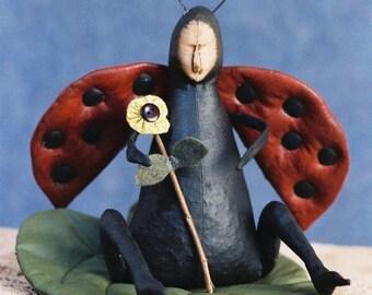 NOW ON SALE Cloth Doll E-Pattern - Lady Bug doll pattern