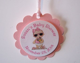 12 - Pink Baby Shower Favor Tags- It's a Girl Beach Baby Favor Tags