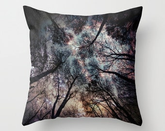 Trees Throw Pillow, Starry Night Pillow, 16x16, 18x18, 20x20, Woods Pillow Case, Woods Pillow Case, Night Sky ,Woodland, Moon, Stars, High