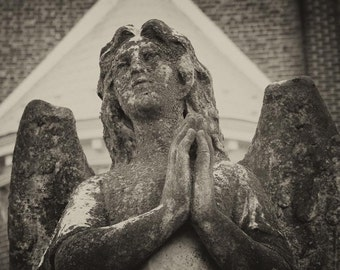 Stone Angel Black and White Fine Art Photography Angel Print Sepia Vintage Photograph Southern Maryland Fine Art Photography