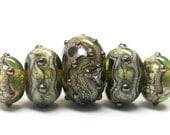 ON SALE 35% OFF Handmade Glass  Lampwork Beads  Sets - Five Graduated Green w/Silver Foil Rondelles - 10503411