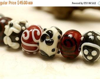 ON SALE 50% OFF Seven Red/Black/Ivory Rondelle Beads - Handmade Glass Lampwork Bead Set 10301501