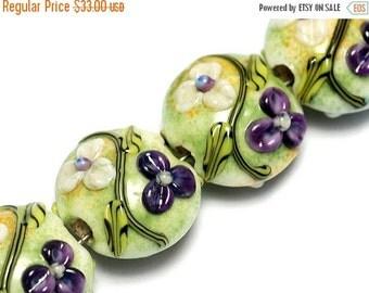 ON SALE 30% OFF Glass Lampwork Bead Set - Four White & Purple Flora Lentil Beads 10504512