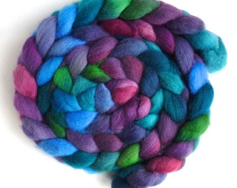 Falkland Wool Roving - Hand Dyed Spinning or Felting Fiber Fiber, Dark Jewels, 4 ounces