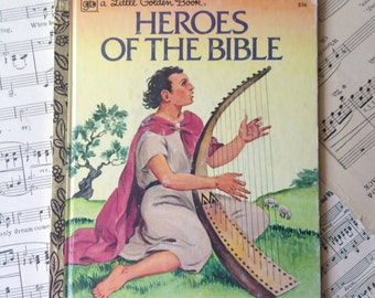 Golden Book Journal No. 053 Heroes of the Bible -Made Just for YOU! Golden Book Journal with Hand Torn 140lb Cold Press Watercolor Paper