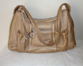 Brighton satchel bag purse gold beige pebble leather, braided strap, top zipper bag, signature fob ,silver details MINT condition