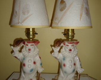 Charming 1950's Pair Lane Clown Working lamps/shades are not original