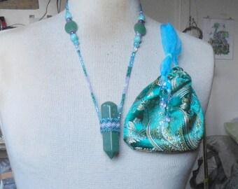 Beaded Aventurine Stone Point Massage Wand Necklace with Amazonite Amethyst Blue Rainbow Quartz Gemstone Beads Extra Large Size