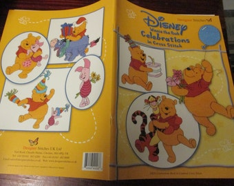 Counted Cross Stitch Patterns Winnie the Pooh Celebrations in Cross Stitch DS 28 Designer Stitches Disney Counted Cross Stitch Leaflet