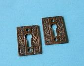 Antique Vintage Brass Keyhole Key Hole Covers Escutcheons Antique Vintage Victorian Keyhole Covers DIY Jewelry Steampunk Jewelry