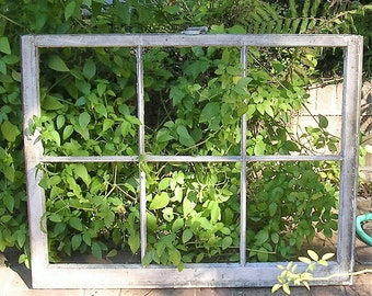 Antique Vintage Six Pane Window Frame Architectural Salvage Wooden Window Frame Farmhouse Shadow Box