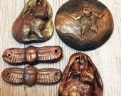 Reserved for Sue Five Special Order Raku Hare Scarab Bat Primitive Pendants