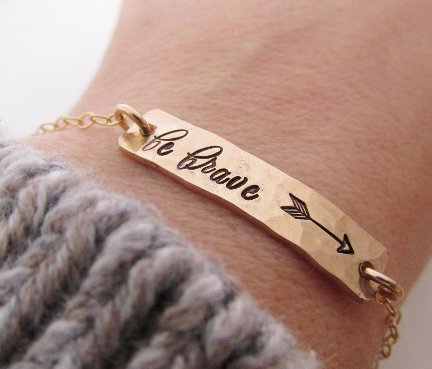 Be brave gold bar bracelet arrow bracelet silver bar for How do you make hand stamped jewelry