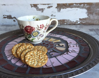 Vintage Broken China Mosaic Tray - Gunmetal and Pink - Hot Chocolate - Script