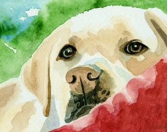 Yellow Labrador Watercolor Painting size 5 x 7, Original Lab Watercolor Dog Painting, Labrador Art