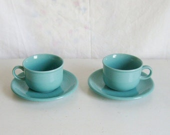 Valentines Day Sale Vintage Montgomery Ward Color Connection aqua pair tea cup and saucers 2 sets of stoneware