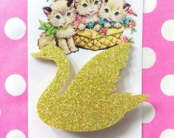 Gold Acrylic Glitter Swan Brooch
