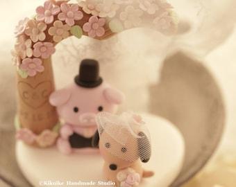 pig and dog Wedding Cake Topper,pig wedding cake topper