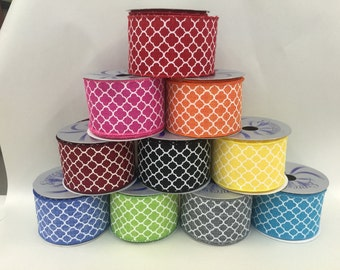 """OVERSTOCK SALE...2.5""""  x 10 yards Wired Quatrefoil  (Lattice) Ribbon -Your choice of Colors.."""