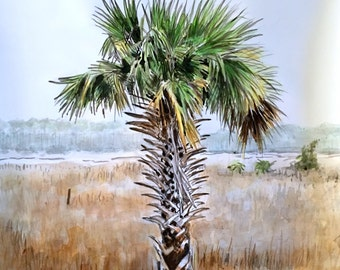"""Original watercolor painting palm tree tropical wall art by Paige Smith-Wyatt 16"""" x 20"""""""