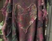 Boho, Gypsy Style, Free Size Caftan/ Splatter Painted, Fringed, Tattered Tunic/ Funky Flowers, Fringey Heart Sheer Fab Funwear