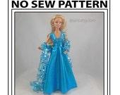 No Sew 11 in Barbie Doll Key Hole Dress Pattern