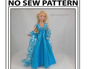 No Sew 11 in Barbie Doll Key Hole Dress Pattern