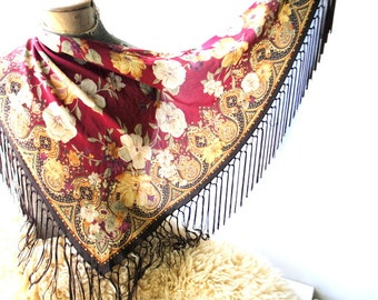 Victorian style vintage 80s burgundy silk , triangle , large shawl with a fringe, beige flowers print. Made by Talbots. Mint condition.