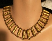 Reserved for Judith Vintage Art Deco Cleopatra Necklace with Detailed Stamped Cylindrical Links Egyptian Style Choker Necklace (J72)