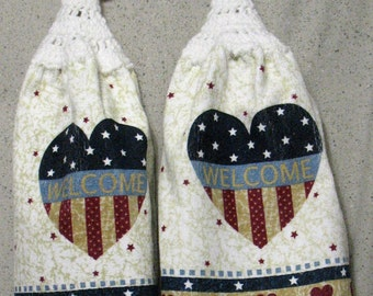 Patriotic Hearts and Stars Hanging Hand Towels Set of 2