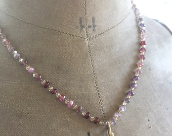 Silk Gemstone Necklace Cognac Quartz Spinel Necklace Multi Gemstone Necklace