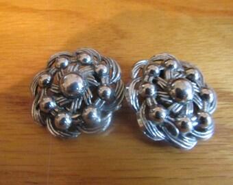 silver metal flower earrings clips