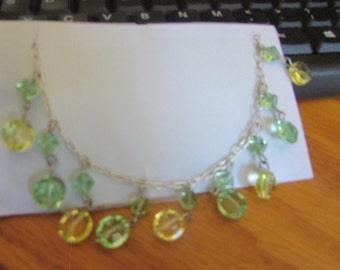 green yellow crystal bead