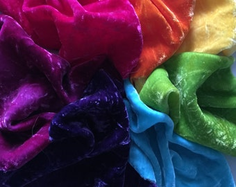 Hand Dyed Silk Velvet -- Color Wheel