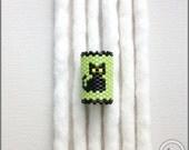 Kitty Dread Bead, Black Cat Loc Cuff, Dread Jewelry, Peyote Stitch Dreadlock Sleeve